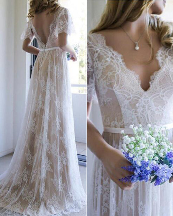 Elegant V Neck Boho Summer Cap Sleeves Lace Wedding Dresses Beach Bridal Gowns WD0428