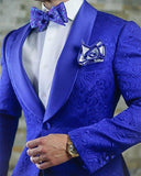 Royal Blue Jacquard Floral Wedding Suit for men Groom tuxedo 2 Pieces (blazer +black pants))