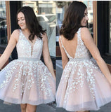 SP0520 Lovely Two Tulle Nude/White Lace Homecoming Dress for Teens Girs Short Prom Gown 8th Graduation
