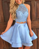 Lovely Crop Top Blue Lace Short Graduation Dress for School Girls  Cocktail Homecoming Gown ,Grad Dress 2020