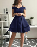 Fashion Navy Blue /Black Off Shoulder Graduation /Homecoming Short Prom Dress, Junior Girls Short Cocktail Party Gown SP0610