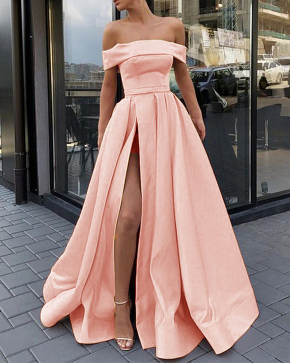 Elegant A Line Satin Peach Color Long Prom Dress  Off The Shoulder Slit Party Gown LP06021