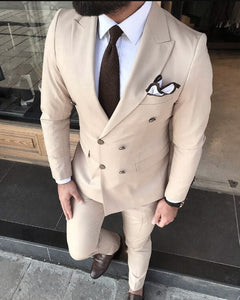 Double Breast Beige Wedding Suits for Black Men SE0711