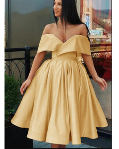 New Off  Shoulder Gold Yellow Knee Length Short Prom Dress Homecoming Gown ,8th Grade Graduataion Dress SP0617