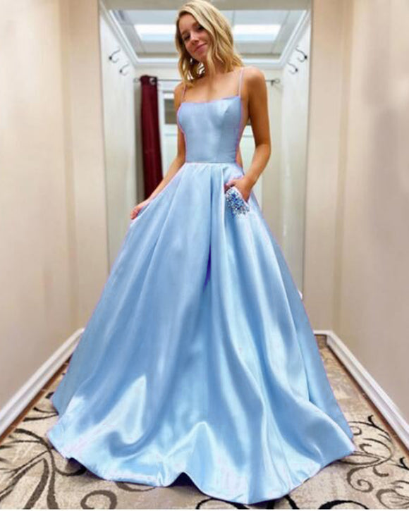 Beautiful Baby Blue A Line Satin Long Prom Dress Vestido De Casamento with Pocket LP06191