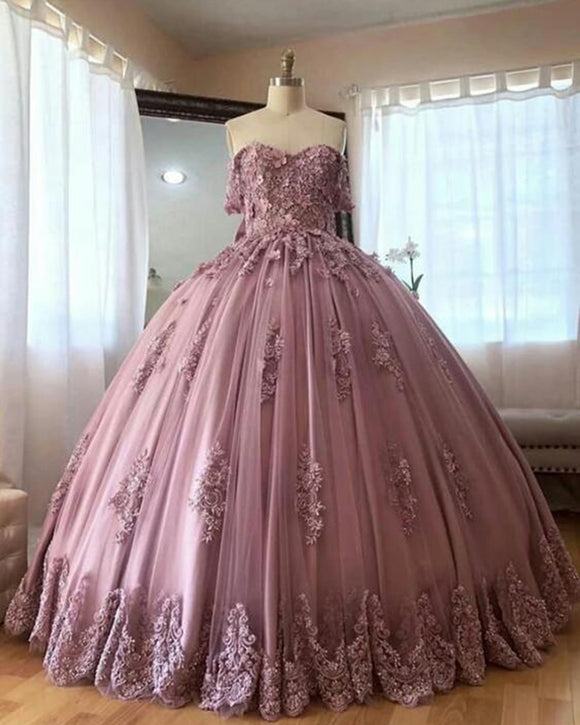 Dusty Pink Ball Gowns,Off Shoulder Lace Prom Quinceanea Dress,Women Coloful Wedding Gown PL0713