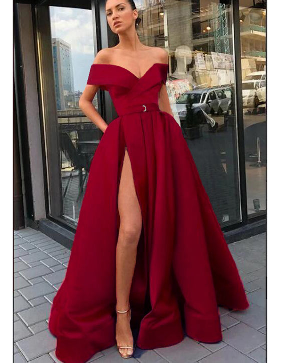 Dark Red A Line Satin High Slit Long Burgundy Prom Dresses Evening Gown With Pocket ,Vestido De Fiesta 2020 LP0620