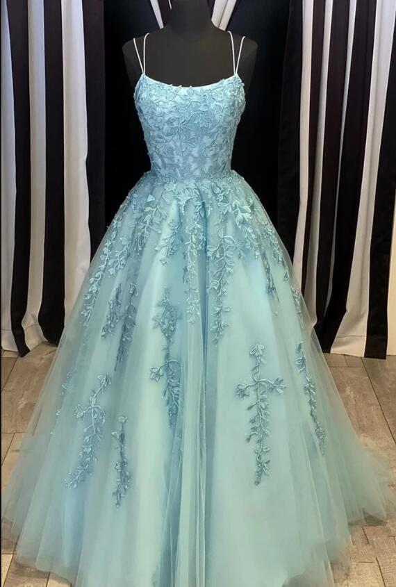 Gorgeous Lace Prom Dress Girls Long Graduation Formal Gown with Straps ,Evening Party GownPL0630