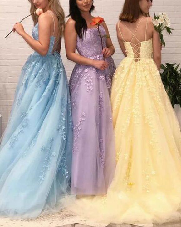 Girls Prom Dress Long Sweet 16 Party Dress leaf lace embroidered Gown Lace up back PL0703