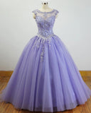 Gorgeous Cap Sleeves Lavender Ball Gown Quinceanera Dresses lace Appliqued ,Beading Bling Bling Sweet 16 dress, Debutante Gown,prom dresses ball gown