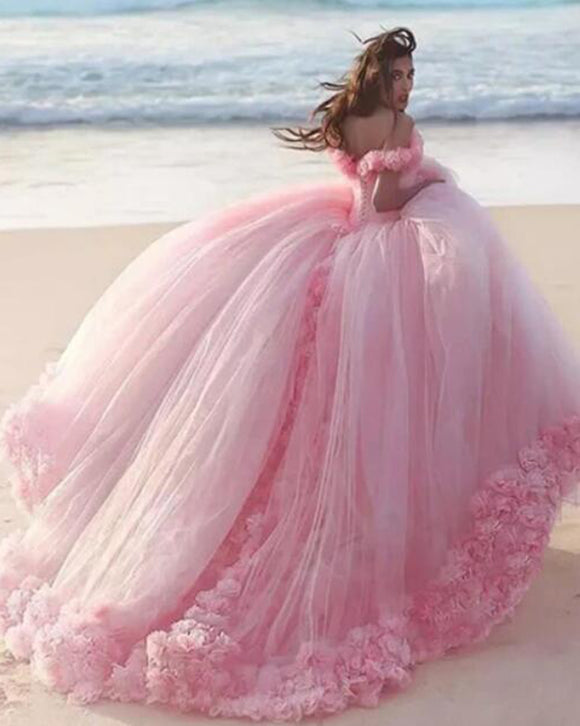 Romantic Poofy Pink Floral Wedding Dresses Off the Shoulder Ball Gown Quinceanera Dress WD5569