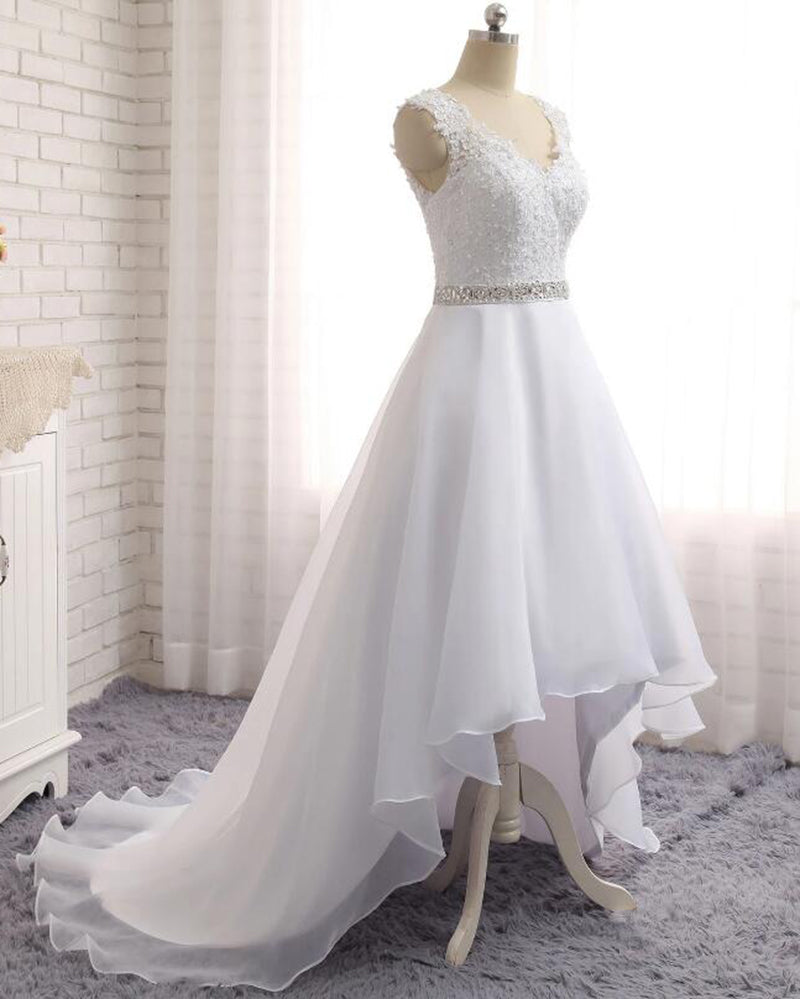 High Low Wedding Dresses Lace Beach Bridal Gown Pl547 Siaoryne