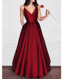 Amazing Elegant A Line Dark Red Satin Prom dress Girls Graduation Gown 2020 Party Dress LP856