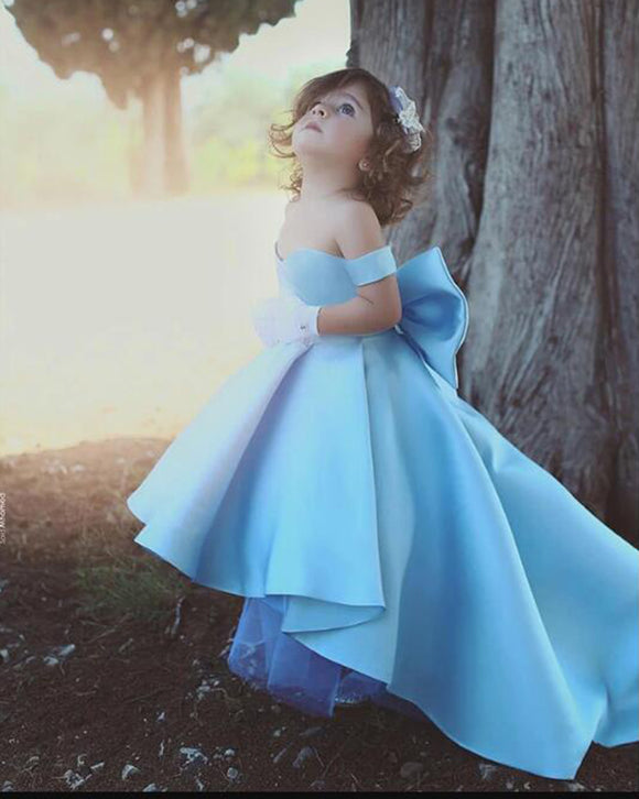 Siaoryne Flower Girl Dresses Blue Ball Gown Child Evening Party Gowns with Bow first communion dresses for girls