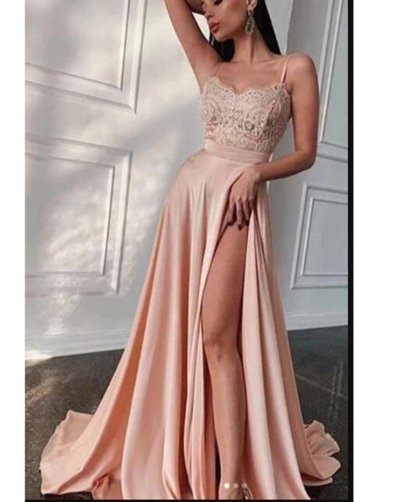 Pink Long Formal Gowns Sexy Blush Evening Prom Dress with High Split PL07143