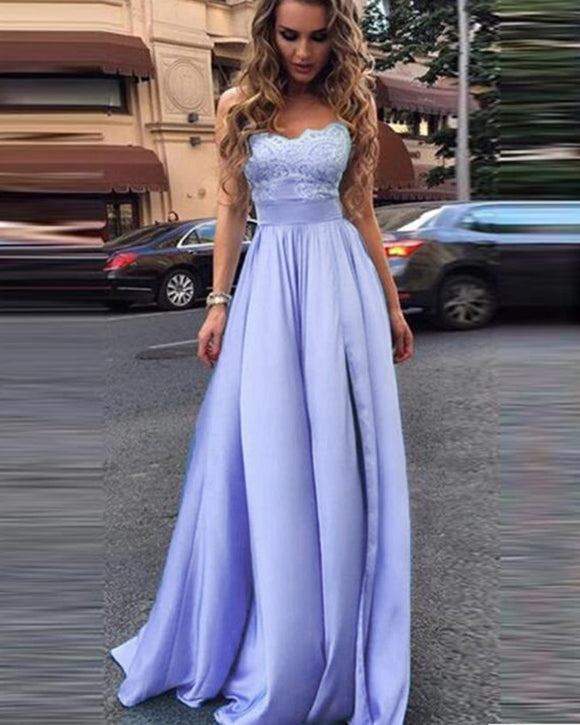 Elegant Lilac /Blue Lace Satin A Line Slit Leg Girls Debutante Ball Dress with Straps ,Long Evening Gown, Prom Party Dress, PL06301