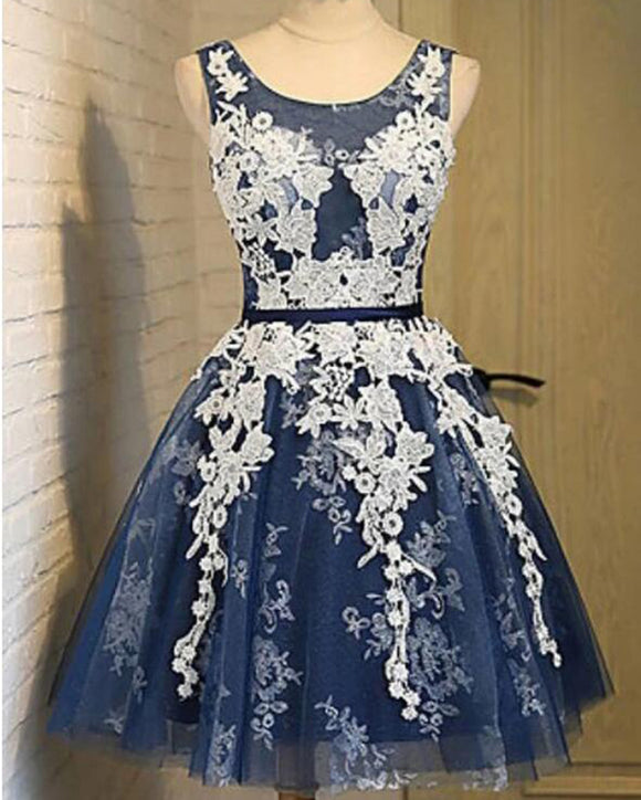 Cute Navy Short Homecoming Dress with Ivory Lace Teens Short Party Gowns SP0630