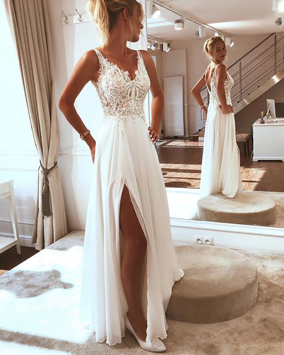 Sweet Slit Lace Chiffon Beach Wedding Dress,2020 Summer Bridal Gowns PL07012