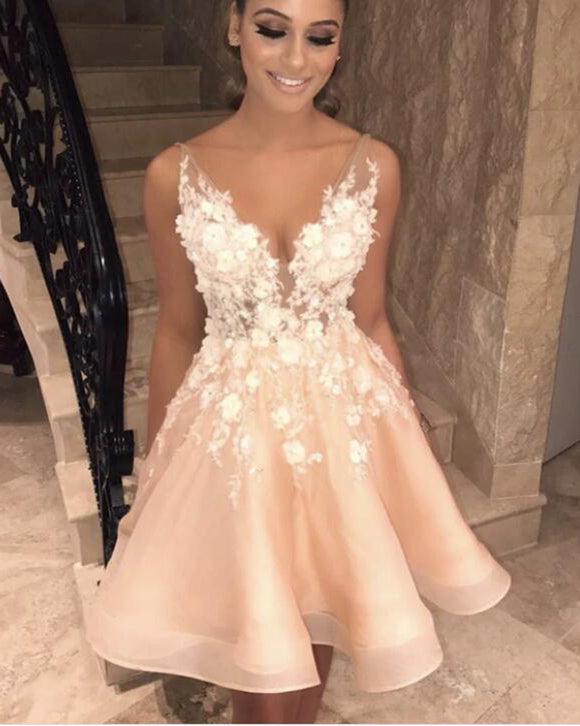 Sexy pink /Ivory lace V Neck Short Prom Dress with Flroal lace Gown,Cocktail Dress SP0706