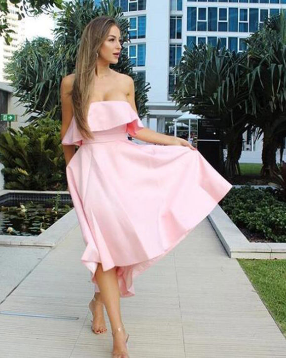 Satin A Line Strapless Pink High Low  hi-lo Bridesmaid Dress for Women Wedding party Gown PL0828