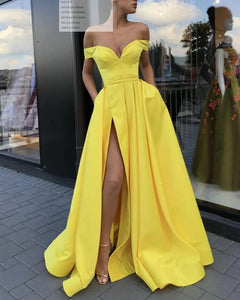 Bright  Lemon Yellow Prom Dress ,Long Off Shoulder Formal Dress Gown with Slit PL0731