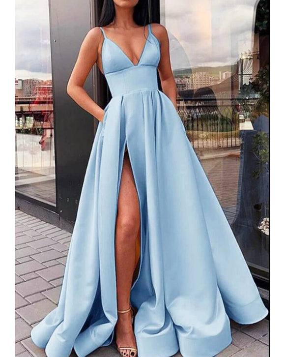 Elegant A Line  Satin Baby Blue Prom Dress 2020 with Straps Ball Dress PL0808