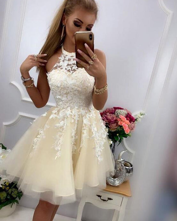 Halter Short Prom Dress for Teens ,Beige/Ivory Lace Girl Homecoming Dress for Graduation SP08124