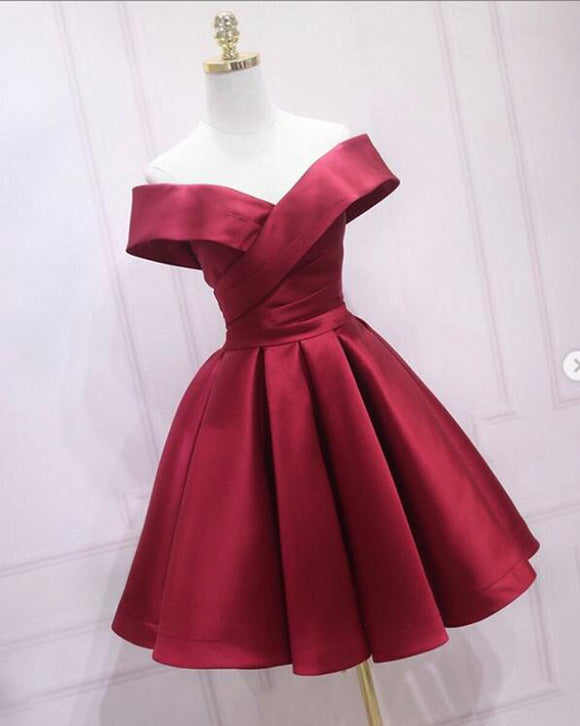 Burgundy Short Prom Dress ,Off Shoulder Satin A Line Short Graduation Homecoming Dress SP09013