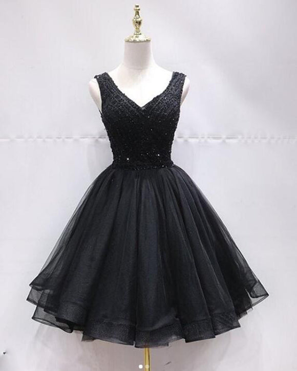 V Neck Tulle Beaded Black Short Homecoming Cocktail Gown Short Prom Dresses SP0916