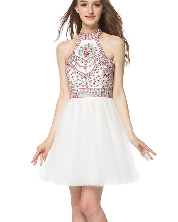 Lovely White Halter Embroidery Short Prom Dress Graduation Homecoming Dress SP0901