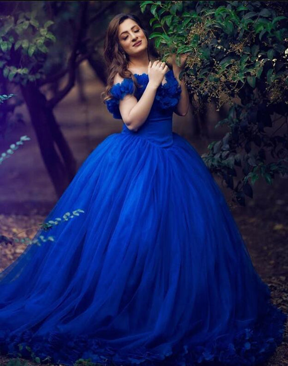 Princess Ball Gown Royal Blue Wedding Dress Cinderella Quinceanera Debutante Gown PL09221