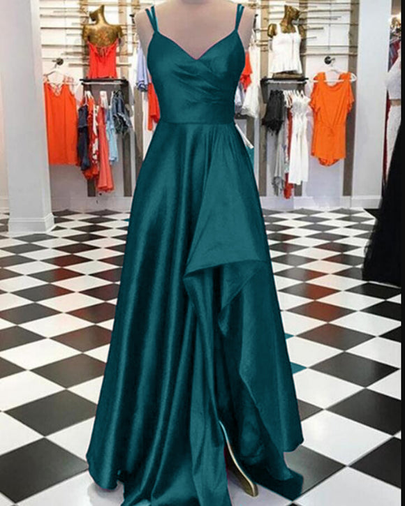 Charming Teal Green Pleated Satin A Line Prom Dress with Slit Long Graduation Gown PL10312