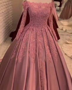 Vintage Long Sleeves Lace Dusty Rose Pink Quinceanera Ball Gown Wedding Dress Women Formal Prom Gown WD0919