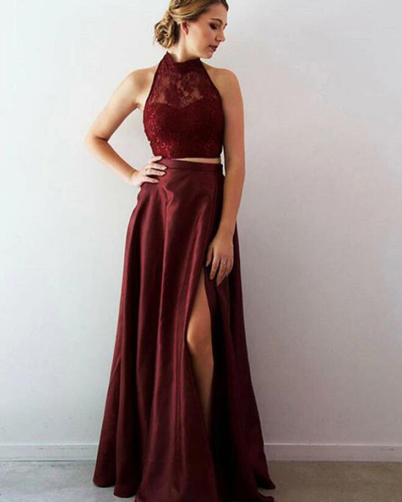 2 Pieces Crop Top Burgundy Prom Dress Formal Party Gown Long PL09253