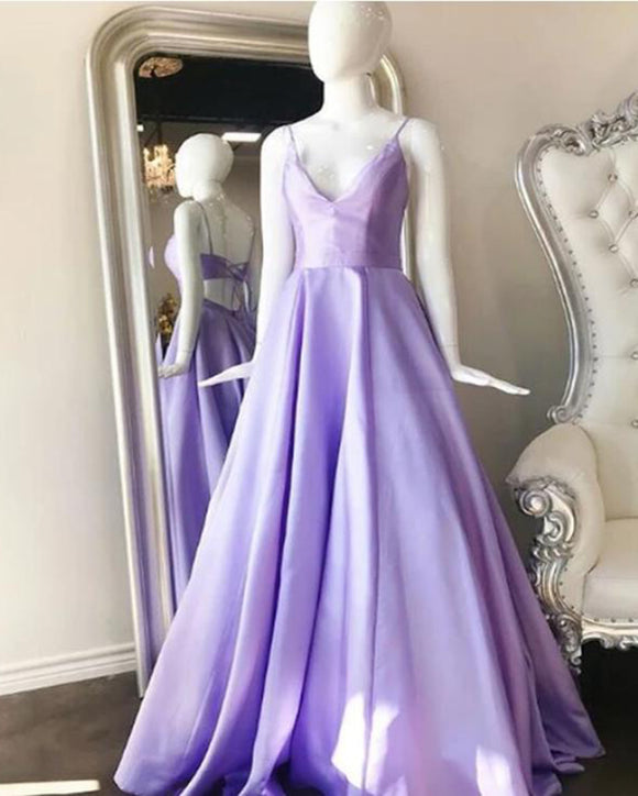 A Line Stin Pocket Lilac Long Formal Prom Dress with Straps Vestido Longo PL0925