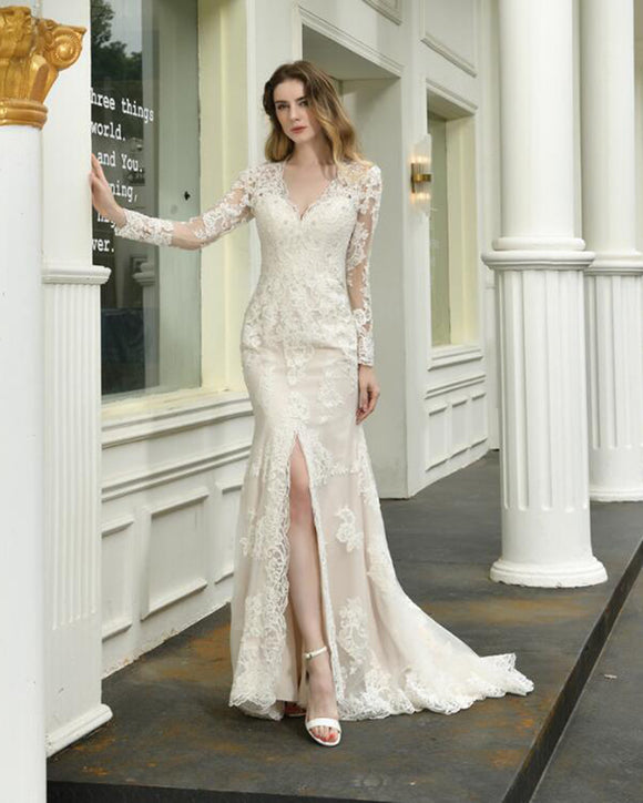 Ivory/Nude Vintage Long Sleeves Lace Mermaid Wedding Dress for Bride with Slit WD09266