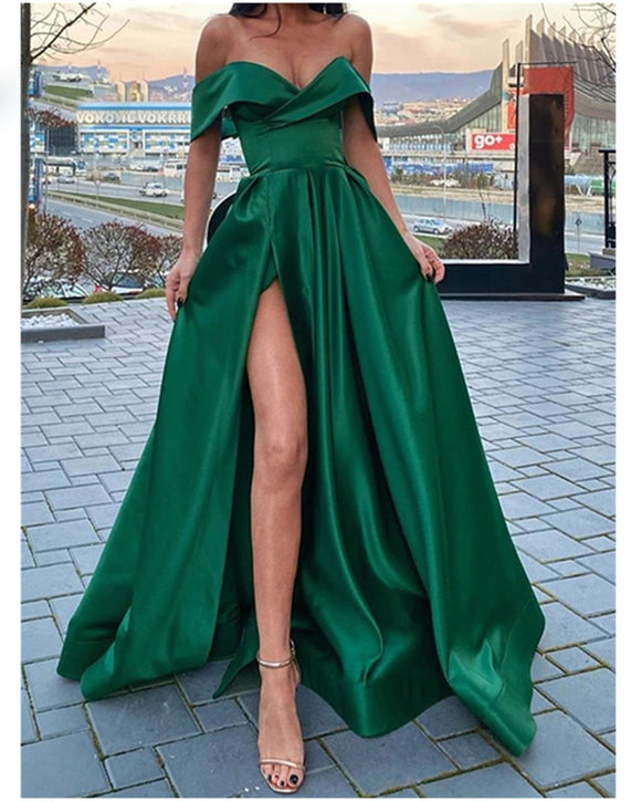 Sexy Off the Shoulder Emerald Green Satin A Line Long Prom Dress with Slit Party Evening Gown