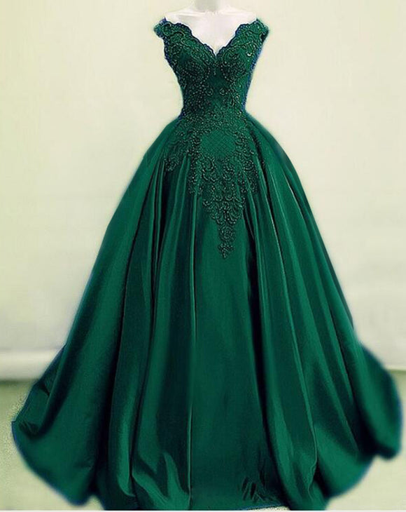 Amazing Dark Green Off the Shoulder Lace Ball Gown Wedding Dress,Green Formal Prom Dress Long PL09292