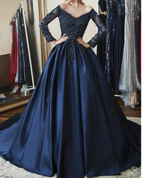 Off the Shoulder Long Sleeves Women Formal Wedding Party Dress Navy Blue Ball Gown Prom Dress PL10132