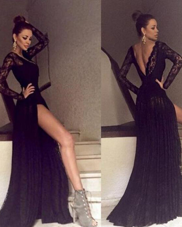 Sexy High Neck Long Black lace Prom Gown,Evening Dress Long with Sleeves  PL10256