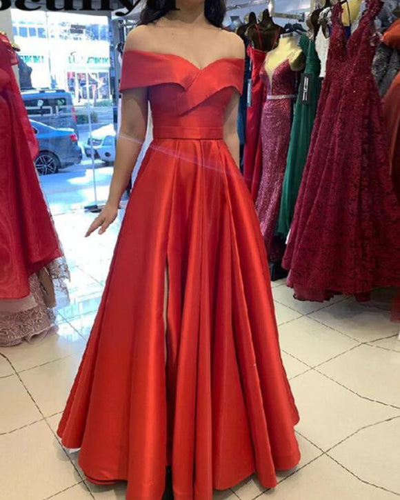 A Line Satin Off the Shouder Long Red Prom Dress vestidos largos PL101163
