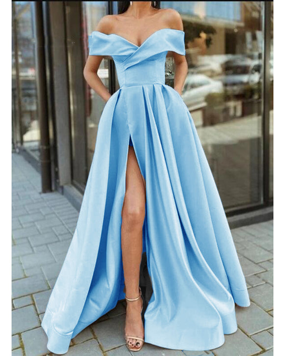 Gorgeous Off Shoulder Cap Sleeves Floor Length Long Split Satin Pocketed Ice Blue Prom Dress ,Formal Graduation Long Dress PL01114
