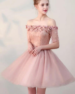 Lovely Teens Graduation Short Prom Dress with Half Sleeves,Pink Homecoming Cocktail Gown SP1027