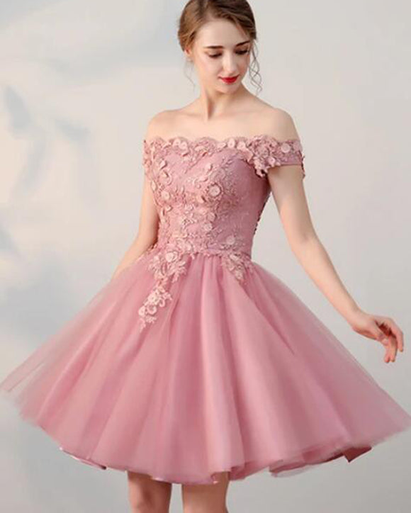 Charming Short Prom Dress Dusty Pink Junior Homecoming Party Dress Semi Formal Gown SP10172