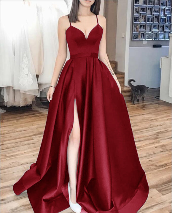Charming Spaghetti Straps Dark Red Prom Long Dress  with Splits,Formal Gowns PL1018