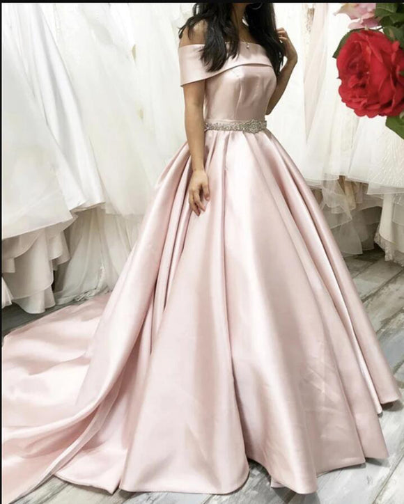 Elegant Off the Shoulder Pale Pink Ball Gown Wedding Dress ,Women Formal Prom Dress PL10212