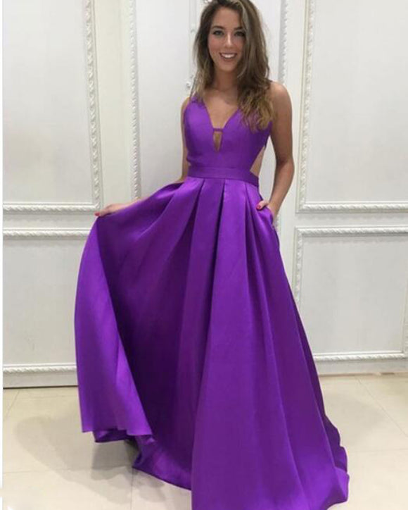 Charming Floor Length  A Line Satin Pocket Deep V Neck Purple Prom Dress PL1022