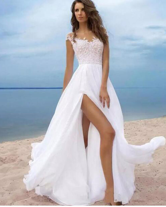 Elegant Scoop Neck Cap Sleeves lace Bridal Dress Beach Wedding Gown with Slits,Vestido De WD10271
