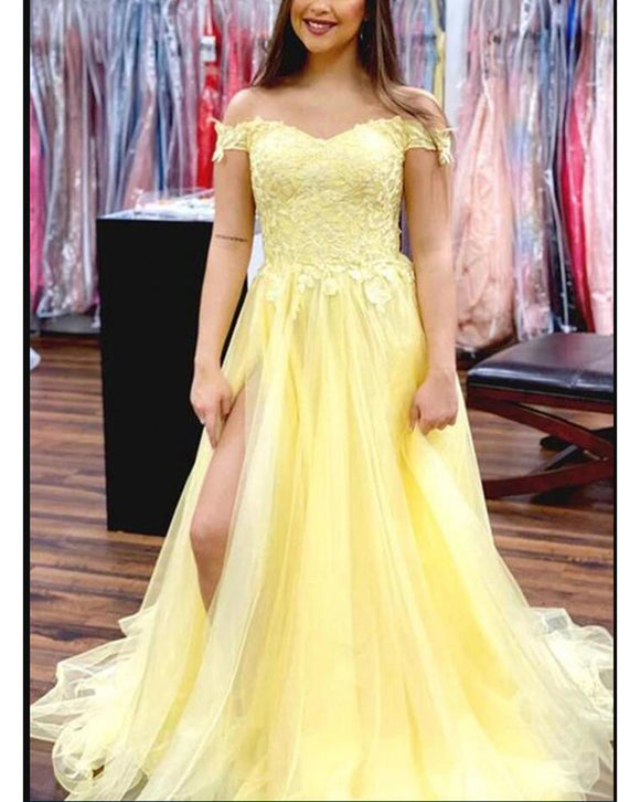 Stunning  Yellow Lace Senior Prom Dress,Girls Long Graduation Dress ,Off the Shoulder Formal Gowns PL01116