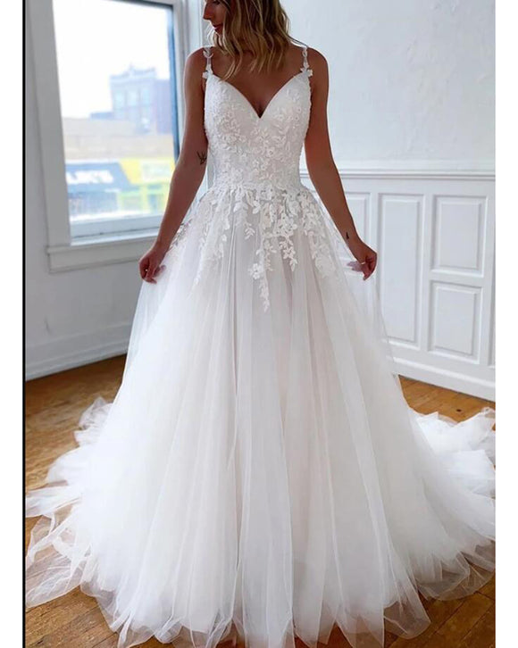 Princess Lace Wedding Dress White Ball Gown Bridal Gown Robe De Mariee WD01117
